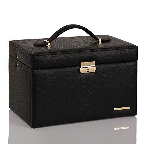 ASDMRQ Joyero, caja de joyería de gran capacidad, caja de almacenamiento de joyas, caja de joyería de tres capas para mujer, caja de joyería de diseño simple