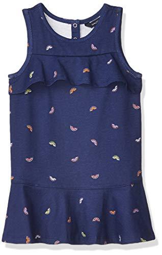 Nautica Girls' Short Sleeve Fashion Dress, Flounce Keyhole Deep Navy, L12/14
