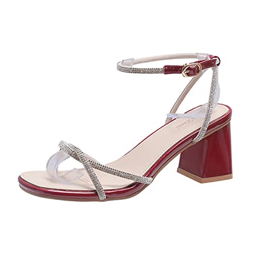 Sandalias de Mujer 2021 Sandalias de tacón Grueso con Diamantes de imitación de Verano Sandalias de Mujer de Todo fósforo francés para Mujer Vino Tinto