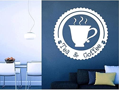 WANGHH Calcomanía de pared con diseño de tienda de café de moda, citas, tazas de té y café, letrero de diseño moderno, pegatinas de pared, ventana interior de vinilo, 57x57cm