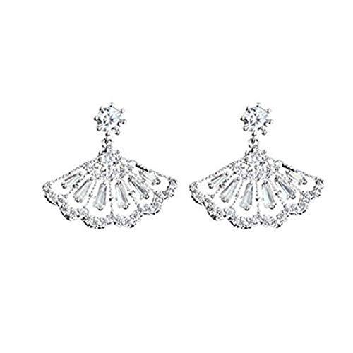 Pendientes de plata con diseño de abanico, pendientes de novia, pendientes de cristal para boda, joyería de novia