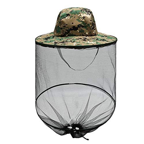 𝗠𝗼𝘀𝗾𝘂𝗶𝘁𝗼 Head Net Hat, Sun Hat Bucket Hat with Hidden Net Mesh for Outdoor Lover Fishing Hiking Gardening 𝗕𝗲𝗲𝗸𝗲𝗲𝗽𝗶𝗻𝗴 Men or Women(Camouflage)