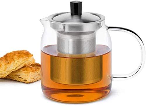 Tetera de hierro fundido de 700 ml de vidrio transparente con infusor de acero inoxidable y tapa transparente resistente al calor Set de té tetera accesorios de té taza de té