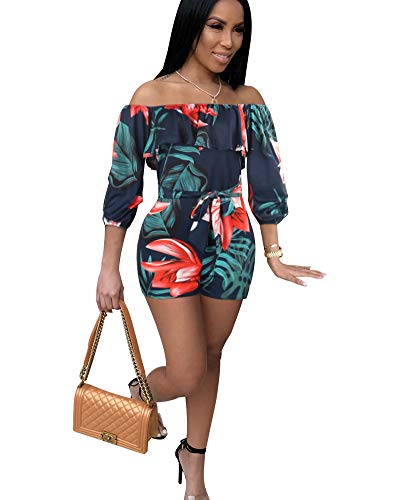 MENCCINO Short Rompers and Jumpsuits for Women Off Shoulder Hight Waist Summer Shorts Set