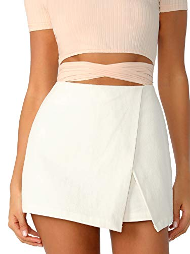 WDIRARA Women's Casual Mid Waist Zip Back Split Front Summer Solid Wrap Shorts White M