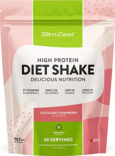 Meal Replacement Shakes - Diet Whey Protein - Weight Control Shake For Men & Women - Low Carbs - Deliciously Smooth Strawberry Flavour - UK Made Premium Shakes - Quick, Easy & Filling