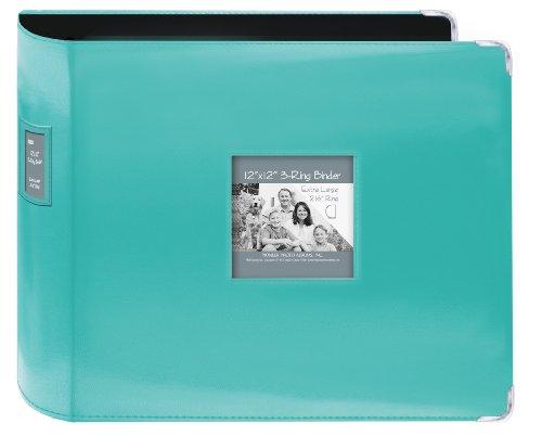 Pioneer Cousu en Similicuir classeur 3 Anneaux 30,5 x 30,5 cm – Bleu Vif,