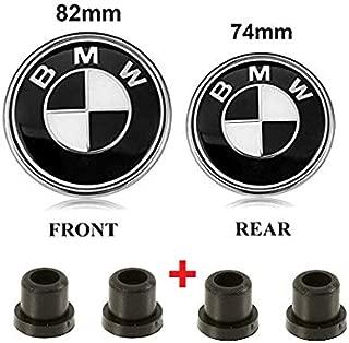 AutoPartsBestBuy Set of 2 BMW Hood Roundel Emblem Logo Replacement Hood 82mm + 2 Grommets & 74mm for All Models BMW E30 E36 E46 E34 E39 E60 E65 E38 X3 X5 X6 3 4 5 6 7 8