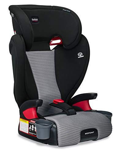 Britax Midpoint BeltPositioning Booster Seat  2 Layer Impact Protection  40 to 120 Pounds  DualComfort Moisture Wicking Fabric Gray