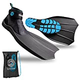 WildHorn Outfitters Seaview 180 Topside Snorkel Fins - Compact, Travel, Swim Fins for Men & Women - Revolutionary Walkable Short Blade Swimming Fins for Land and Sea