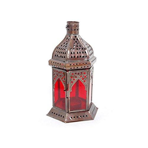 Insideretail Moroccon Style Lantaarn met een koperen antieke afwerking en rood glas, 11cm x 10cm x 19cm, set van 2