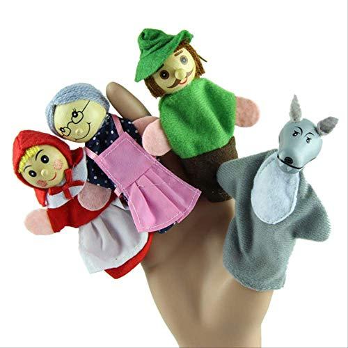 BLTR Suave 4pcs marioneta de Mano Caperucita Títeres de Dedo del Juguete del bebé Infantiles Enseñanzas Finger Puppets Precioso Natural