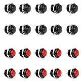 Clyxgs Momentary Push Button Switch No Lock SPST Mini Push Button Round Switchs AC 250V / 3A AC125V / 6A Black Red Cap 20PCS