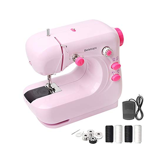 Mini Sewing Machine, Beletops Portable Sewing Machine Lightweight Sewing Machine w/Foot Pedal, Double Thread, LED Light, Perfect for All Types of Fabric for Kids, Beginners, Household, Girls -Pink