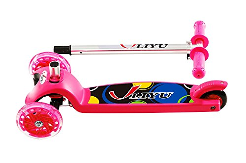 LIYU 1281F Kick Scooter for 2-8 Year Old Kids of with 3 Mini Wheels, Folding Frame, Adjustable Height, Easy Assemble (Pink)
