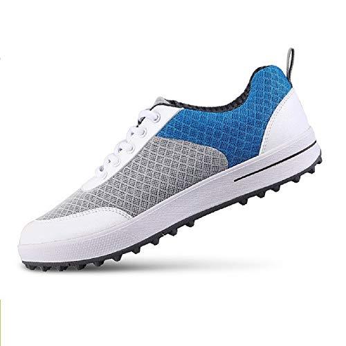 HYJMJJ Golfschuhe für Mädchen, atmungsaktiv Leichte Sommer-Frauen-Golfschuhe Geben Sie Stil, Komfort und Leistung auf und abseits der Golfplatz,Blau,37