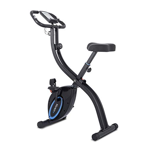 LONTEK Bicicleta Estática Plegable, Bicicleta de Ejercicio con Pantalla LCD, 8 Niveles de Resistencia Magnética Ajustable, Sensor de Pulso, Peso Máximo 120KG