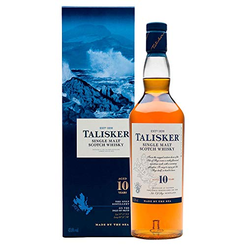 Auch gut in der Leistung Talisker 10 Jahre Single Malt Scotch Whisky – Mild geräucherter Torfwhisky in Nordschottland – Marine Geschenkbox – Standardversion – 1 x 0,7 l