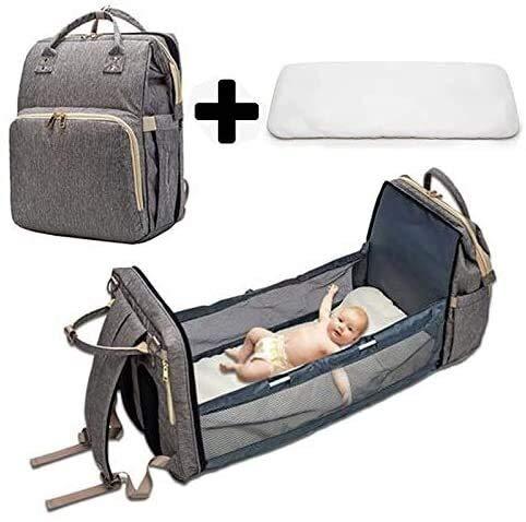 3 en 1 Cama de bebé plegable de viaje, Pañal Cambiando Portátil Malgum Bag Mochila, Basinetas Portátiles para Bebé y Niño, Cuna de viaje Durmiente infantil, Nido de bebé con colchón ( Color : Gray )