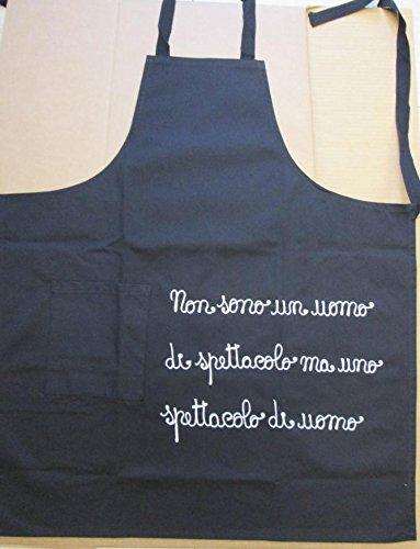 Grembiule Uomo papà Cuoco in Cotone 100% nel Colore Nero e Bordeaux e 4 Simpatiche Frasi Ricamate a Scelta cm 75x90