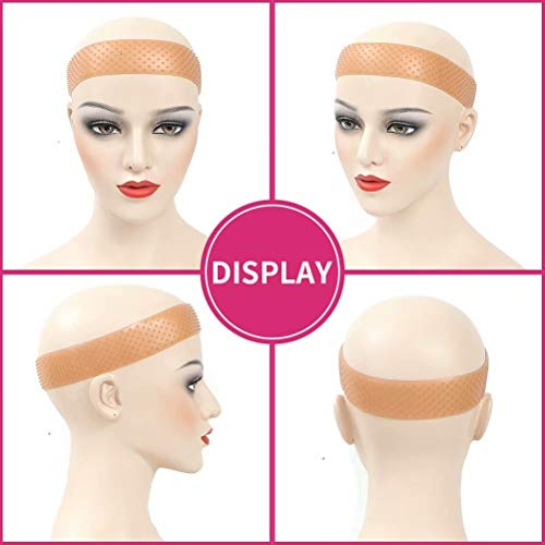Brown Silicone Wig Grip Band Wig Sweatproof Seamless Wig Hand without Gel or Glue Available Soft Drop-shaped Hair Band Elastic Non Slips Wig Grip Band for Wigs Sports Yoga(L size)