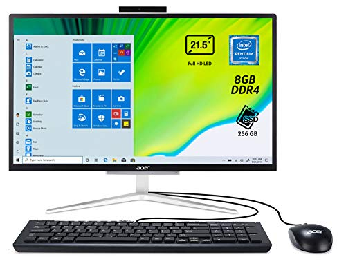 Acer Aspire C22-820 All in one con Processore Intel Pentium J5040, RAM 8 GB DDR4, SSD 256GB M.2 SATA, Display 21.5' FHD LED LCD, Intel UHD, Wireless Lan, Tastiera e Mouse USB, Windows 10 Home, Nero