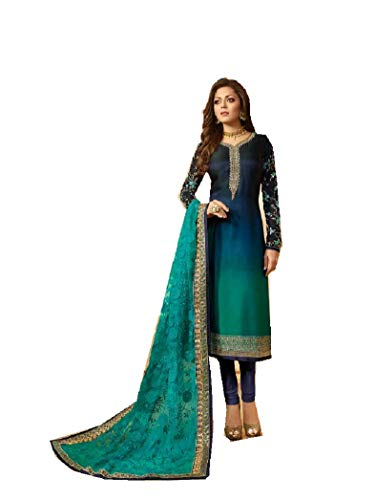 Delisa Designer Wedding Partywear Silk Embroidered Salwar Kameez Indian Dress Ready to Wear Salwar Suit Pakistani LTN (Turquoise, 1X-PLUS-50)