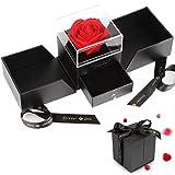 Vegena Rose Eternelle avec Boîte à Bijoux, Rose Eternelle Qui ne Fane Jamais, Fleur Eternelle pour la Saint-Valentin Fête des Mères Anniversaire Cadeaux de Mariage Romantique pour Elle