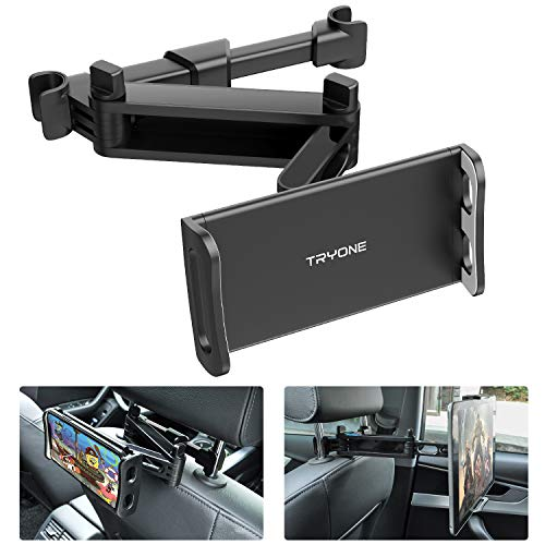 Tryone Supporto Tablet Poggiatesta Auto, estensibile supporto per tablet per sedile d'auto per iPad/Samsung Galaxy Tab/Amazon Kindle Fire HD/Nintendo Switch/Altri ecc di 4,7-10,5 pollici (Nero)