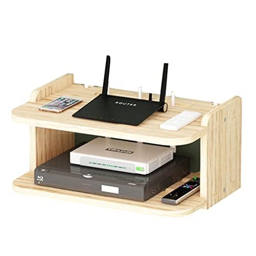 Scatola Portaoggetti Router in Legno Massello WiFi Porta TV Set-Top Box Rack Scatola Portaoggetti Router Senza Punzonatura Staffa Proiettore A Parete (Color : Natural, Size : 33.7 * 23 * 16CM)