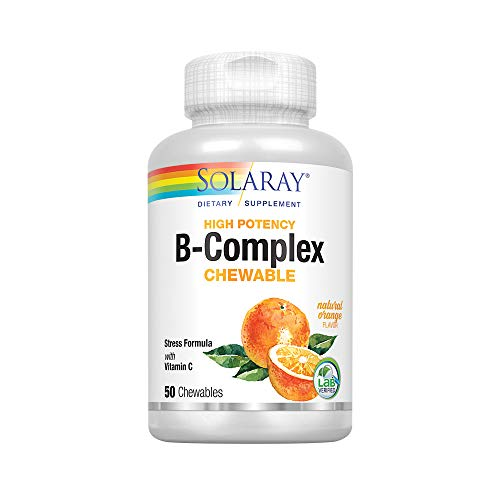 Solaray Vitamin B-Complex 250mg Natural Orange Flavor | Healthy Hair, Skin, Immune Function & Metabolism Support | Lab Verified | 50 Chewables