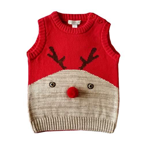YuanDian Bebe Niños Niñas Navidad Tejido De Punto Chaleco Ciervo Sin Manga Suéter 100% Algodón Ropa de Punto Disfraces Navideña para Infantil 64-110cm