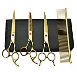 no!no! Ski Goggles 4pcs 8 Inch Stainless Steel Pet Dogs Grooming Scissors Set Up Down Curved Shears Sharp Edge Animals Cat Hair Cutting Barber