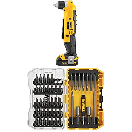 DEWALT 20V MAX Right Angle Cordless Drill/Driver Kit (DCD740C1) with DEWALT DW2166 45 Piece Screwdriving Set with Tough Case
