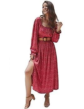 KANCY KOLE Women Maxi Dress Vintage Long Sleeve Ruffle Dress Smocked Waist Boho Long Dress with Side Split  Red,S