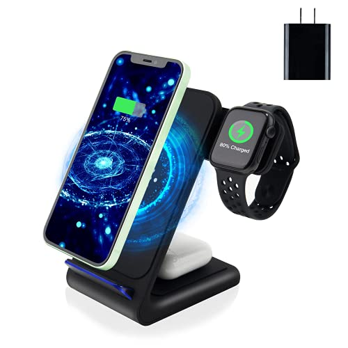 Wireless Charger,Amugpill 3 in 1 Fast Wireless Charging Station Dock...