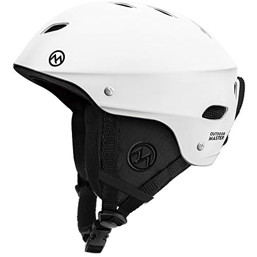 OutdoorMaster Ski Helmet - with ASTM Certified Safety, 9 Options - for Men, Women & Youth (White,L)