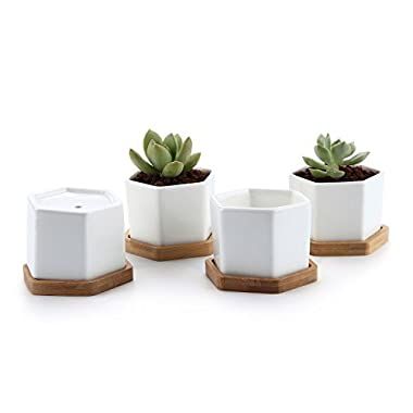T4U 2.75  White Ceramic Hexagon Succulent Cactus Planter Pots with FREE Bamboo Tray for Home Decoration 1 Pack of 4