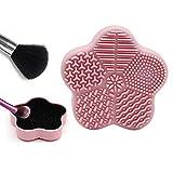 Eachbid 2pcs Limpiador de Pinceles Limpiador de Brochas de silicona, con Esponja de Eliminación de Color, Secos y Húmedos, Cepillo cosmético herramienta Universal caja depuradora,Forma de flor