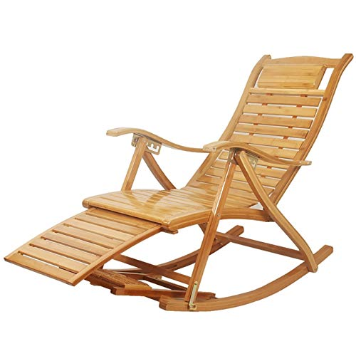 YNLRY Wooden Rocking Chair Comfortable Recliner Adult And Elderly Rocking Chair Lazy Balcony Nap Chair Elderly Casual Folding Massage Chair (Color : WOOD COLOR, Size : 40.5CM*88CM*75CM)