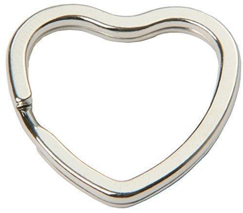 SBS® Schlüsselringe   in Herzform   10 Stück   glanzvernickelt und gehärtet