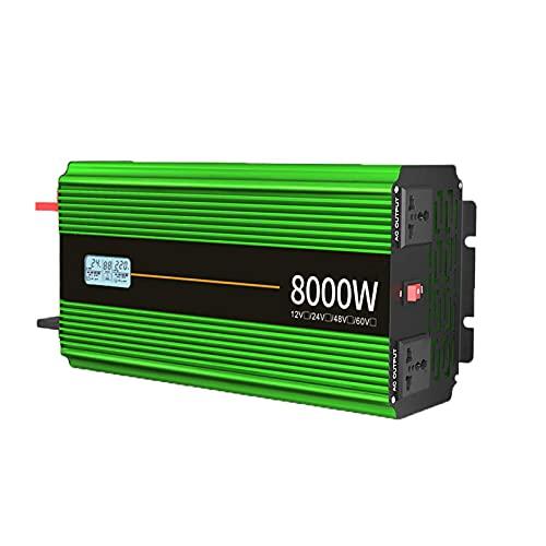 FDQNDXF Inversor de Corriente para Automóvil 8000W 10000W Inversor de Onda Sinusoidal Modificada DC 12V / 24V a AC 220V Convertidor de Voltaje, Inversores Solares con Pantalla LED para Camión RV
