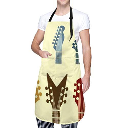 XHYYY wasserdichte Schürze mit Taschen, Vector Icon Gitarren-Kopfstützen Einstellbare Sicherheitsschürze, Kochschürze, Kochschürze Männer Frauen Küchenschürze, chemische Schürze