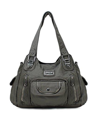 Scarleton Satchel Handbag for Women, Ultra Soft Washed Vegan Leather Crossbody Bag, Shoulder Bag, Tote Purse,Ash Grey, H163524