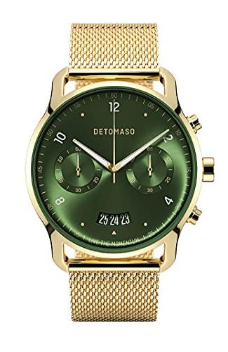 DETOMASO SORPASSO Chronograph Limited Edition Gold Green Herren-Armbanduhr Analog Quarz Mesh Milanese Gold