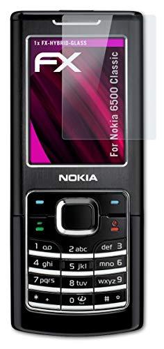 atFolix Glasfolie kompatibel mit Nokia 6500 Classic Panzerfolie, 9H Hybrid-Glass FX Schutzpanzer Folie