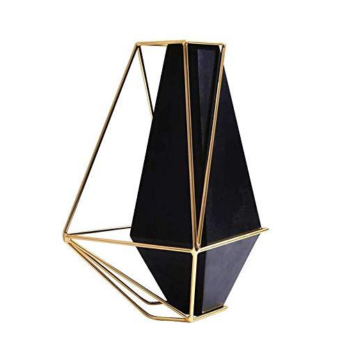 Zwarte Noordse Wind Anker Geometrische Metalen Vaas, Eenvoudig, Kantelbaar, Geschikt voor Woonkamer, Keuken Eettafel, Home Office.