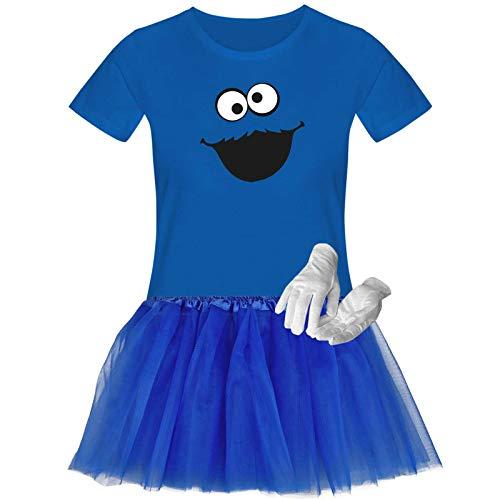 T-Shirt Krümelmonster Kostüm Set + Tütü Tüllrock Karneval Fasching Damen XS-3XL Verkleidung Gruppen Rosenmontag Sesamstraße, Größenauswahl:M, Setauswahl:Plus Set (+Handschuhe)