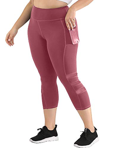 Uoohal Women's Plus Size Active Leggings High Waist Yoga Pants with Pocket Tummy Control Running Workout Athletic Legging Dusty Pink 3XL