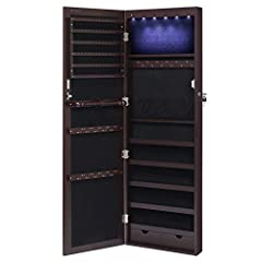 LED LIGHT & LOCKABLE CABINET: 6 auto on and off LED lights powered by 3 AAA batteries (NOT INCLUDED), making this cabinet helps you easily to choose the right jewelry; keep your jewelry safe and far away from kids with the lock LARGE STORAGE CAPACITY...